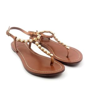 Tory Burch Emmy Pearl Brown Leather Thong Sandals